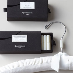 """Quintessence - Quintessence Wardrobe Petite Tubes - Slip one of these petite tubes into a drawer or onto a hanger and fill the space with subtle fragrance. Also perfect for cupboards and suitcases. Made of scented resin. Available in two scents: """"Nerac"""" (cedar) or """"Belle d'Estress"""" (white musk and viol..."""