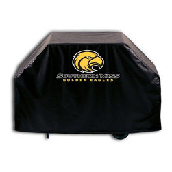 """Holland Bar Stool - Holland Bar Stool GC-SouMis Southern Miss Grill Cover - GC-SouMis Southern Miss Grill Cover belongs to College Collection by Holland Bar Stool This Southern Miss grill cover by HBS is hand-made in the USA; using the finest commercial grade vinyl and utilizing a step-by-step screen print process to give you the most detailed logo possible. UV resistant inks are used to ensure exeptional durablilty to direct sun exposure. This product is Officially Licensed, so you can show your pride while protecting your grill from the elements of nature. Keep your grill protected and support your team with the help of Covers by HBS!"""" Grill Cover (1)"""