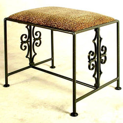 Grace Collection - Gothic Inspired Wrought Iron Bench w Upholste - Fabric: ZebraGothic inspired design elements on the frame give this classic wrought iron bench an ornate look that will easily enhance your home. Ideal for a hall, entry or bedroom, the bench has an upholstered seat and is available in your choice of finishes and fabric options. Made of Steel/Wrought Iron. Hand made and finishes. 16 in. W x 22 in. L x 18 in. H ( 31 lbs. )