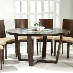 Stylish Round Wood and Glass Top Table and Four Chairs - Round shaped solid wood dining set. A beautiful dining set that will immediately improve any home decor, indoors or outdoors