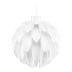 Norm 12 Lamp White Large - Norm 12 Lamp White X LargeNormann Copenhagen released the Norm 69 lamp in 2002, and it ended up becoming a design icon throughout the whole world. The lamp also marked the start of the age-long collaboration with designer Simon Karkov. Now, more than a decade later, another sculptural lamp oozing with character from the same designer��s hand has arrived.Nature and flowers have been a constant source of inspiration for Simon Karkovs designs and the resemblance to a flower can clearly be seen when looking at the Norm 12 lamps curved, leaf-like components. The lamp has a soft shape with an organic feel to it.Material: Lamp shade foil. The lamp shade is made of a special, non flammable plastic material