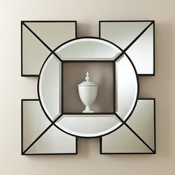 Global Views - Global Views Arabesque Shadow Box Mirror - Arabesque Shadow Box Mirror by Global Views. Hangs with metal wall cleat provided. Available in Black or White.