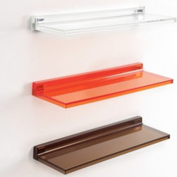 Kartell - Shelfish Shelf by Kartell - You can never have too many shelves. Made out of transparent PMMA plastic, the Kartell Shelfish Shelf Shelfish is easily mounted to the wall with special plugs and the shelf's back support ridge. The simplicity of the design together with the transparency of the available colors gives the shelf an unequaled sense of lightness, all by itself or arranged in multiples. Founded in 1949 by Giulio and Anna Castelli, Kartell has become the world leader—and innovator—in the realm of molded plastic furniture. Headquartered in Italy, Kartell works with designers worldwide to create their distinctive line of modern furniture, lighting and accessories. Dedication to discovering and employing new technologies and manufacturing methods results in a growing line of durable, stylish and cutting edge products.