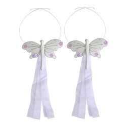 "Bugs-n-Blooms - Dragonfly Tie Backs White Jewel Nylon Dragonflies Tieback Pair Set Decorations - Window Curtains Holder Holders Tie Backs to Decorate for a Baby Nursery Bedroom, Girls Room Wall Decor - 5""W x 4""H Jewel Curtain Tieback Set Dragonfly 2pc Pair - Beautiful window curtains tie backs for kids room decor, baby decoration, childrens decorations. Ideal for Baby Nursery Kids Bedroom Girls Room.  This gorgeous dragonfly tieback set is embellished with sequins and glitter.  This pretty dragonfly decoration is made with a soft bendable wire frame & have color match trails of organza ribbons.  Has 2 adjustable wires to wrap around the curtains; or simply remove & add your own ribbon for a personal & custom look.  Visit our store for more great items. Additional styles are available in various colors, please see store for details. Please visit our store on 'How To Hang' for tips and suggestions. Please note: Sizes are approximate and are handmade and variances may occur. Price is for one pair (2 piece)"