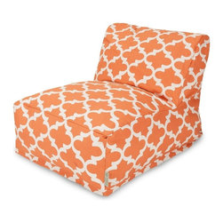 Majestic Home Goods - Peach Trellis Bean Bag Chair Lounger - Add style and functionality to your living room, family room or game room with the Majestic Home Goods Trellis bean bag chair lounger. This Beanbag Chair has the design of modern furniture, while still giving the comfort of a classic bean bag. Woven from cotton duck or twill, these loungers are durable yet comfortable. The beanbag inserts are eco-friendly by using up to 50% recycled polystyrene beads, and the removable zippered slipcovers are conveniently machine-washable. Wash in cold water with a mild detergent such as Wool-Lite and hang dry. Wash in cold water with a mild detergent such as Wool-Lite and hang dry.