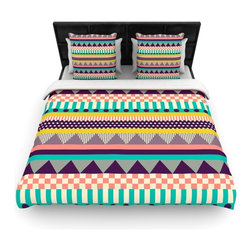"""Kess InHouse - Louise Machado """"Decorative Stripes"""" Teal Pink Fleece Duvet Cover (King, 104"""" x 8 - You can curate your bedroom and turn your down comforter, UP! You're about to dream and WAKE in color with this uber stylish focal point of your bedroom with this duvet cover! Crafted at the click of your mouse, this duvet cover is not only personal and inspiring but super soft. Created out of microfiber material that is delectable, our duvets are ultra comfortable and beyond soft. Get up on the right side of the bed, or the left, this duvet cover will look good from every angle."""