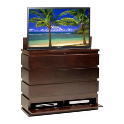 Do You Like Solid Wood? - Prism TV Lift Cabinet Made in the USA of Solid Wood