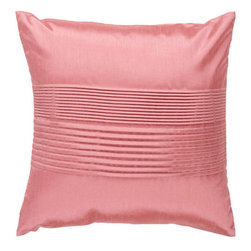 Surya Rugs - Light Coral 22 x 22 Pleated Pillow - Simple yet stylish. This pillow is a mixture of a solid and striped design. The color salmon accents this decorative pillow. This pillow contains a poly fill and a zipper closure. Add this 22 x 22 pillow to your collection today.  - Includes one poly-fiber filled insert and one pillow cover.   - Pillow cover material: 100% Polyester Surya Rugs - HH023-2222P
