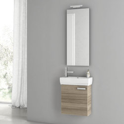 Nameeks - Cubical Vanity Set | Nameeks - Made in Italy. A part of ACF by Nameek's.The Cubical Vanity Set provides the perfect blend of Italian charm and functionality all in one compact design. The extra-long wall-mounted mirror provides a crystal clear reflection while making any bathroom appear larger. On top of the mirror sits an LED lamp that continues to shine after 50,000 hours of use. The sturdy, wall-hung, vanity features a single swing out door that both conceals the sink plumbing and provides convenient storage. Topping the whole package off is the fitted porcelain sink with a single pre-drilled faucet hole centered to the left of the basin. Product Features: