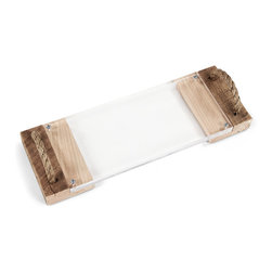 Zentique - Acrylic Serving Board with Wood Handles - The Acrylic Serving Board with Wood Handles features an acrylic board with handcrafted wooden handles with rope detail. Handles will vary.