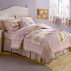 None - My World Giddy Up 3-piece Quilt Set - This adorable kids's quilt set is sure to complement any child's bedroom decor with its fun cowboy theme in images of boots, horseshoes, horses and more. This comfortable bedding ensemble includes one quilt and two pillow shams.