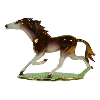Lavish Shoestring - Consigned Lustre Ceramic Running Horse Sculpture, Vintage Italian, circa 1950 - This is a vintage one-of-a-kind item.