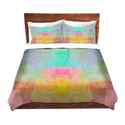 DiaNoche Designs - Duvet Cover Microfiber King - DiaNoche Designs by China Carnella - Pastel Fields - DiaNoche Designs works with artists from around the world to bring unique, artistic products to decorate all aspects of your home.  Super lightweight and extremely soft Premium Microfiber Duvet Cover (only) in sizes Twin, Queen, King.  Shams NOT included.  This duvet is designed to wash upon arrival for maximum softness.   Each duvet starts by looming the fabric and cutting to the size ordered.  The Image is printed and your Duvet Cover is meticulously sewn together with ties in each corner and a hidden zip closure.  All in the USA!!  Poly microfiber top and underside.  Dye Sublimation printing permanently adheres the ink to the material for long life and durability.  Machine Washable cold with light detergent and dry on low.  Product may vary slightly from image.  Shams not included.