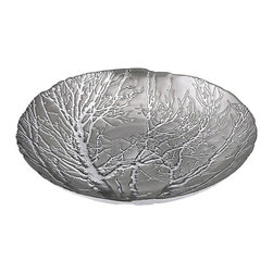 iMax - Ethereal Tree Bowl - Silver Plated - Table decor branches out with an ethereal, silver-plated glass charger embossed with a tree.