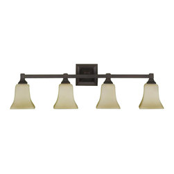 Murray Feiss - Murray Feiss American Foursquare Bathroom Lighting Fixture in Oil Rubbed Bronze - Shown in picture: American Foursquare Vanity Strip in Oil Rubbed Bronze finish with Excavation glass shade