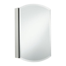 "Kohler - Archer Mirrored Medicine Cabinet - Archer mirrored cabinet Enhances KOHLER's Archer suite offering by providing an additional storage option to create a complete grooming space. 20"" W x 31"" H x 5"" D 19-0.25"" W x 25-0.25"" H x 4"" D rough opening size Anodized aluminum construction provides a durable rust-free and chip-free finish Full overlay mirrored door with 0.75"" precision cut beveled edge Two-way adjustable hinges with 110 degree opening capability for full-cabinet access (Lifetime warranty on hinges) 3-Mirror design featuring a radii external mirror with 0.75"" beveled mirror with precision cut mitres and two internal mirrors enhances the overall bathroom experience Provides storage capability option for consumers with two adjustable 0.25"" glass shelves Cabinet can be installed with either a right-hand or left-hand hinge option Recess or surface mounted installation option that includes a side mirror kit Features: -Aluminum construction. -Full overlay mirrored door. Dimensions: -31"" H x 20"" W x 5"" D."
