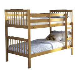 Homelegance - Homelegance Todd Twin Bunk Bed in Pine - The pine finish is set off with a clean design and attached ladder.