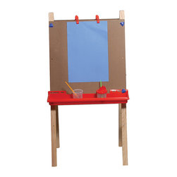 "Steffywood - Steffy Wood Kids Preschool Height Adjustable Hardboard Easel With Wood Legs - Easel panels adjust independently in height from 16"" to 22"" from floor.  Perfect for toddlers and pre-schoolers.  Solid wood legs fold flat for storage.  Four easel clips and two trays are included."