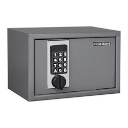 First Alert 2025F Theft Rated Digital Lock Security Safe - The family's or business's valuables, cash savings, and important documents will be completely secure stored in the First Alert 2025F Theft Rated Digital Lock Security Safe. Constructed from solid, welded steel, this compact 13.2-lb anti-theft safe includes a programmable digital lock with override key, pry-resistant concealed hinges, two locking door bolts, an interior light, and a floor mat with four protective rubber feet. Five-year limited warranty. Dimensions: 12.19L x 8.25W x 7.81H inches.About First AlertWith a complete line of home safety devices, First Alert is America's most-recognized and most-trusted safety brand. Detectors, fire extinguishers, safety boxes, and other preparedness products give home and business owners alike increased peace of mind. First Alert is actively involved in the communities it protects, too, with longstanding outreach initiatives supporting fire service and other organizations dedicated to fire prevention, carbon monoxide detection, and safety.