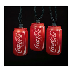 "Lamps Plus - Themed Coca-Cola Cans 10-Light String of Party Lights - Add some color and ""refreshing"" charm with this set of Coca-Cola party lights. Each light features a miniature Coke can lighted from within by a small fixture. 10-light string. 12"" spacing between lights. 30"" lead wire. Includes spare bulbs and fuses. Total length 11 1/2 feet.  10-light string.   Great for outdoor areas indoor bar areas and more.  Coca-Cola Coke can string lights.  Includes spare bulbs and fuses.   Logo © The Coca-Cola Company All Rights Reserved.   12"" spacing between lights.   30"" lead wire.   11 1/2 feet long light string."