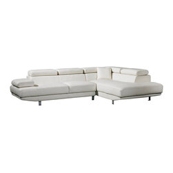 VIG Furniture - T60 White Top Grain Leather Sectional Sofa With Adjustable Headrests - The T60 sectional sofa is a great addition for any modern themed living room decor. This sectional sofa comes upholstered in a beautiful white top grain leather in the front where your body touches. Skillfully chosen match material is used on the back and sides where contact is minimal. High density foam is placed within the cushions for added comfort. Only solid wood products were used when crafting the frame making the sofa very durable. This sectional features adjustable headrests for that extra touch of relaxation.