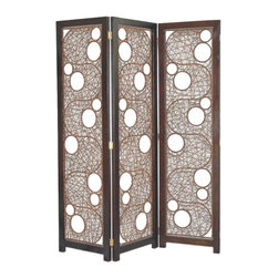 Jeffan International - Cascade Contemporary Woven Rattan 3 Panel Folding Screen - Made in Indonesia. No assembly required. 59 in. L x 1 in. W x 69 in. H (120 lbs.)A very unique design created using natural rattan stained in dark brown finish. The frame is made of solid hardwood stained in dark espresso finish.