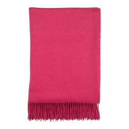 Johnstons of Elgin| Cashmere Throw, Fuchsia - New England Stripes by Johnston's for Muse