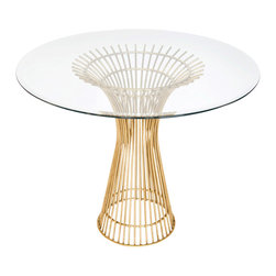 "Worlds Away - Worlds Away Gold Leaf Iron Dining Table Base with 42""Dia Glass Top POWELL 42 - Gold leaf iron table base with 42"" diameter beveled glass top. Glass is 3/8"" thick."