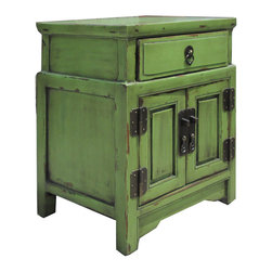 Golden Lotus - Unique Green Chinese Antique Nightstand End Table Cabinet - Look at this Chinese antique nightstand end table which is made of solid elm wood.  It provides one drawer and one shelf.
