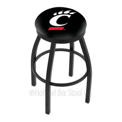 "Holland Bar Stool - Holland Bar Stool L8B2B - Black Wrinkle Cincinnati Swivel Bar Stool - L8B2B - Black Wrinkle Cincinnati Swivel Bar Stool w/ Accent Ring belongs to College Collection by Holland Bar Stool Made for the ultimate sports fan, impress your buddies with this knockout from Holland Bar Stool. This contemporary L8B2B logo stool has a single-ring black wrinkle base with a 2.5"" cushion and a black accent ring that helps the seat to ""pop-out"" at glance. Holland Bar Stool uses a detailed screen print process that applies specially formulated epoxy-vinyl ink in numerous stages to produce a sharp, crisp, clear image of your desired logo. You can't find a higher quality logo stool on the market. The plating grade steel used to build the frame is commercial quality, so it will withstand the abuse of the rowdiest of friends for years to come. The structure is powder-coated to ensure a rich, sleek, long lasting finish. Construction of this framework is built tough, utilizing solid mig welds. If you're going to finish your bar or game room, do it right- with a Holland Bar Stool. Barstool (1)"