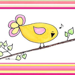 Oh How Cute Kids by Serena Bowman - Song Bird - Yellow with Pink Strips, Ready To Hang Canvas Kid's Wall Decor, 8 X - Each kid is unique in his/her own way, so why shouldn't their wall decor be as well! With our extensive selection of canvas wall art for kids, from princesses to spaceships, from cowboys to traveling girls, we'll help you find that perfect piece for your special one.  Or you can fill the entire room with our imaginative art; every canvas is part of a coordinated series, an easy way to provide a complete and unified look for any room.