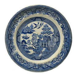 Lavish Shoestring - Consigned 4 Blue and White Dinner Plates by William Lowe, Antique English, 19th - This is a vintage one-of-a-kind item.