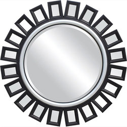 Coaster - Mirror, Black/Silver - Sunburst style wall mirror in black with a silver inner trim. Perfect for any transitional styled room.