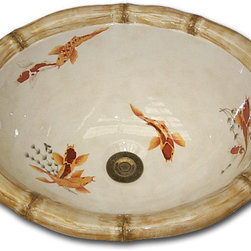 Marzi's Hand Painted Sinks - EB-Faux-500 Koi Fish Classic Hand pianted on Marzi's oval self rimming bowl with bamboo rim this has been a favorite for many. We can modify the design to fit the need of the space.