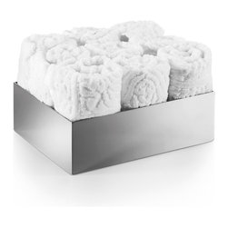 WS Bath Collections - Saon Stainless Steel Box For Hand Towels - Saon by WS Bath Collections Box for Hand Towels and 9 Hand Towels in Stainless Steel, Made in Italy