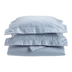 1000 Thread Count King/Cal. King Duvet Cover Set Solid Cotton Rich - Light Blue - Dress up your bedroom decor with this luxurious 1000 thread count Cotton Rich duvet cover set. A superior blend of materials makes these duvet cover soft, easy to care for and wrinkle resistant. Each duvet cover set is made of 55% Cotton and 45% Polyester. Set includes One Duvet Cover 106x92 and Two Pillow-shams 20x36 each.