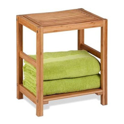 "Bamboo Spa Bench - Honey-Can-Do BTH-02100 Bamboo Spa Bench, Bamboo. Made of sturdy bamboo, this bench is the perfect accessory for any bathroom. Measuring 12.6"" x 12.6"" x 20"", the bottom shelf has ample storage space for towels and bathroom essentials while the top tier offers seating or additional storage. Sustainable bamboo is moisture resistant and wipes clean. Assembles easily; tool is included."