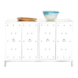 Worlds away Studly Buffet , White - White lacquer nickel studded buffet with inset beveled mirror top. One fixed interior shelf.