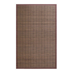Anji Bamboo Villager Coffee 5'x8' - Our Villager Bamboo Rugs were inspired by the traditional bamboo floor covers in Asia.  Made from the finest and strongest sustainably-harvested bamboo, these rugs add a touch of practical elegance to any room.  Kiln-dried bamboo is machine-planed and sanded for a smooth finish.  In addition, the patented, ventilated non-slip rug pad backing cushions the rug and keeps it in place.  Other available colors include: Natural, Crimson, and Ebony. Available sizes: 2'x3', 4'x6' and 5'x8'.