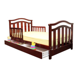 "Dream On Me - Elora Toddler Bed with Storage Drawer - The Dream On Me Elora Toddler Bed is designed low to the floor so that your toddler can safely get in and out of bed. It is the perfect transition for toddlers who have outgrown their cribs but are still too small for an adult bed. Include safety guard rails for piece of mind security and wooden mattress support rails that provide durability and support without the use of a box spring. Accommodates a standard size Dream On Me mattress, sold separately. Comes complete with all necessary tools for easy assembly. Features: -Material: Solid wood.-Elegant design.-Roomy storage drawer.-Non-toxic.-Distressed: No.-Powder Coated Finish: No.-Gloss Finish: No.-Frame Material: Solid pine wood.-Hardware Material: Metal hinges.-Scratch Resistant: No.-Fits Crib Mattress: Yes.-Recommended Mattress Height: 4"".-Mattress Profile Maximum: 4"".-Mattress Profile Minimum: 2"".-Box Spring Included: No.-Slats Required: Yes.-Number of Slats Required: 6.-Slat System Included: Yes.-Number of Slats Included: 6.-Center Support Legs: No.-Recommended Age Range: 18 months - 7 years.-Also Suitable for Adults: No.-Weight Capacity: 45 lbs.-Eco-Friendly: Yes.Specifications: -CPSIA or CPSC Compliant: Yes.-CARB Compliant: Yes.-JPMA Certified: No.-ASTM Certified: Yes.-ISTA 3A Certified: Yes.-General Conformity Certificate: Yes.-Green Guard Certified : No.Dimensions: -Overall Height - Top to Bottom: 28"".-Overall Width - Side to Side: 29"".-Overall Depth - Front to Back: 53.5"".-Headboard Height Top to Bottom: 27"".-Headboard Width Side to Side: 29"".-Footboard Height: 28"".-Footboard Width - Side to Side: 23"".-Overall Product Weight: 38 lbs."