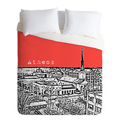 DENY Designs - Bird Ave Athens Red Duvet Cover - Turn your basic, boring down comforter into the super stylish focal point of your bedroom. Our Luxe Duvet is made from a heavy-weight luxurious woven polyester with a 50% cotton/50% polyester cream bottom. It also includes a hidden zipper with interior corner ties to secure your comforter. it's comfy, fade-resistant, and custom printed for each and every customer.