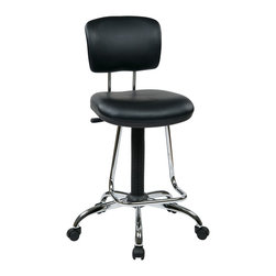 Office Star - Office Star Chrome Finish Economical Chair With Teardrop Footrest - Chrome Finish Economical Chair with Teardrop Footrest. Pneumatic Drafting Chair with Vinyl Stool and Back. Height Adjustment 26 Inch to 36 Inch overall. Heavy Duty Chrome Base with Dual Wheel Carpet Casters What's included: Office Chair (1).