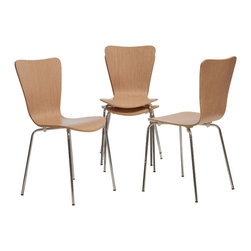 Great Deal Furniture - Downey Wood Chairs (Set of 4), Natural - The Downey dining chairs provide a modern look to your dining room. Their sleek wood finish look works around a dining table while providing extra seating in any room.