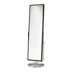 BDI - Continuum Mirror - The BDI Continuum Mirror is sleek and slender. The steel base gives an industrial edge and the espresso frame gives it a bold look. It is unique because the mirror can tilt and twist left and right. Easily assembled.