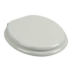 Renovators Supply - Toilet Seats White Hardwood Round shape Toilet Seat Chrome Hinge | 13695 - Hardwood toilet seat: Made of solid hardwood this seat is designed for maximum strength & durability & easily outlasts all other wooden seats. Fits over standard size toilet bowls & comes in a variety of finishes. Cross-frame design prevents splitting at stress points unlike most ordinary toilet seats. Made of sturdy polymer- the bumpers prevent rocking & keep the seat safely in place. Solid brass swivel hinges are easily adjustable 3 5/8 in. to 7 1/2 in. & easier to clean. Chrome-plating protects brass from tarnishing for years to come. Seat measures: 15 13/16 in. x 14 9/16 in. Lid measures: 14 5/16 in. x 13 1/8 in. Round shape.