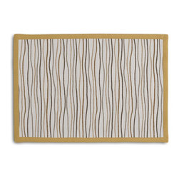 Tan & Brown Wavy Lines Tailored Placemat Set - Class up your table's act with a set of Tailored Placemats finished with a contemporary contrast border. So pretty you'll want to leave them out well beyond dinner time! We love it in this modern wavy lined stripe in gold, brown & gray.  a hint of playfulness to liven up any space.
