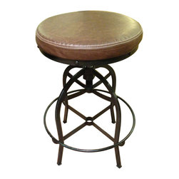 Artisan Home Furniture - Artisan Home Adjustable Height Barstool with Bonded Leather Seat - Adjustable Height Barstool with Bonded Leather Seat belongs to Barstools Collection by Artisan Home