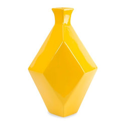Glossy Glamour Large Yellow Ceramic Vase - *The Chantal large yellow vase incorporates a geometric shape and canary shade that adds a contemporary boldness to any room!