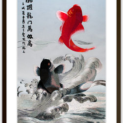Art of Silk - Koi Jumping Over the Dragon Gateway - Hand Designed Silk Art, Silk Embroidery - Silk embroidery art was invented in China over 2,500 years ago. This high quality silk art is created using embroidery techniques developed from the world famous Suzhou style of silk embroidery. Each piece contains over 100,000 stitches on average.