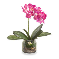 """""""Heartfelt"""" Botanical - A single pink bloom gently quivers atop a slender virescent stem surrounded by leafs of meadow green in Heartfelt. A simple clear glass vase displays a collection of river rock in warm earthen tones of brown, beige, gold, and misty gray. With quiet sophistication and engaging realism, this artificial floral enlivens your transitional decor with singular beauty."""